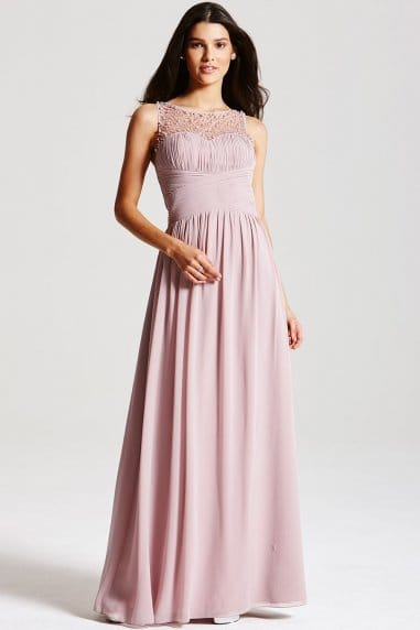 Mink Embellished Detail Maxi Dress