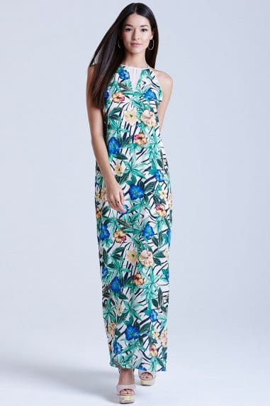 Hibiscus Print Maxi Dress
