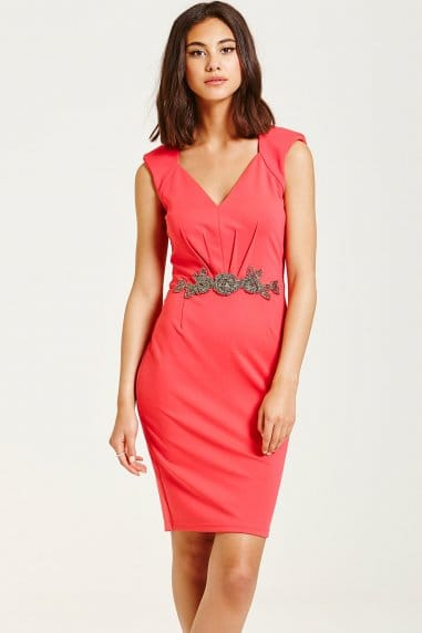 Hot Coral Embellished Waist V Neck Bodycon Dress