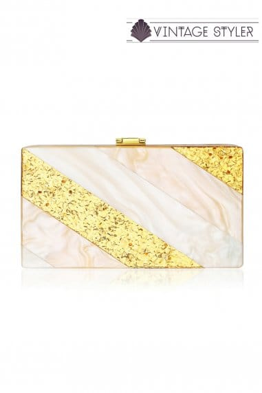 Edith Pearlescent Blush And Gold Clutch Bag