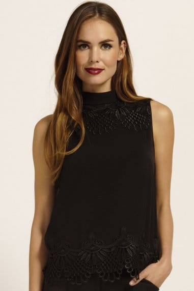 Black Lace Frill Detail Sleeveless Top