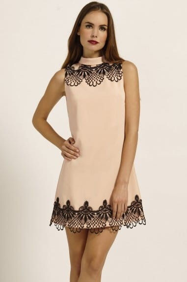 Nude & Black Lace Frill Detail Shift Dress
