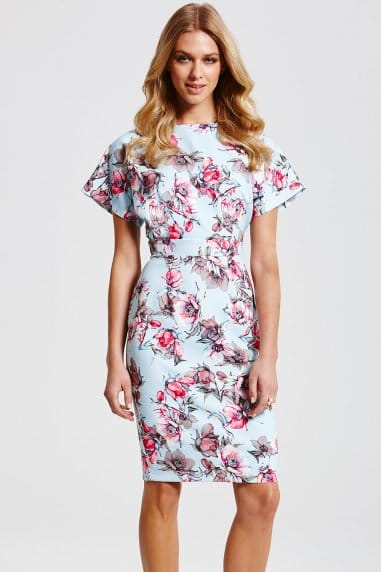 Blue Floral Short Sleeved Dress