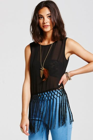Black Fringed Top
