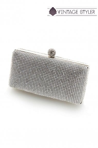 Eleanor silver diamante clutch bag