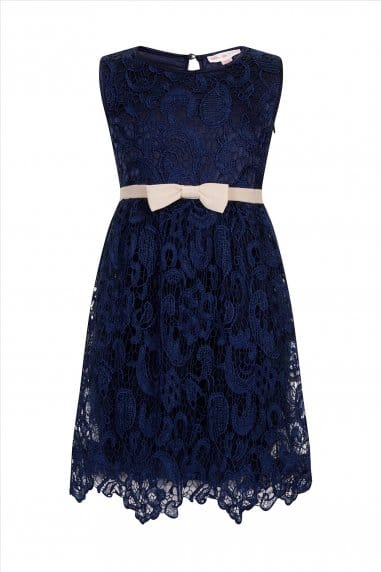 Navy Lace Bow Puffball Party Dress