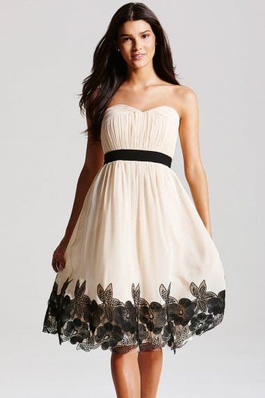 Cream Floral Applique Bandeau Dress