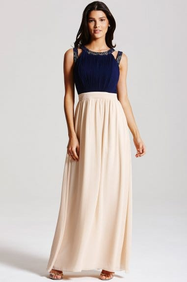 Navy and Nude Chiffon Maxi Dress