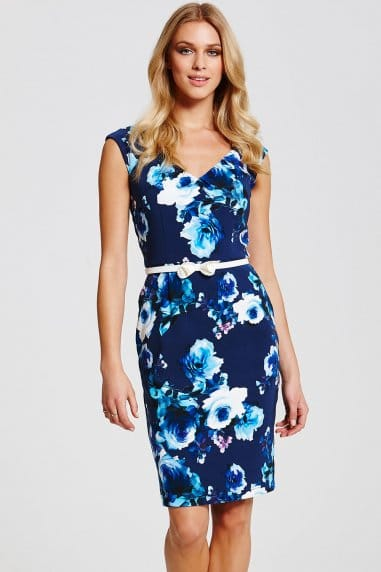 Navy Floral Bardot Dress