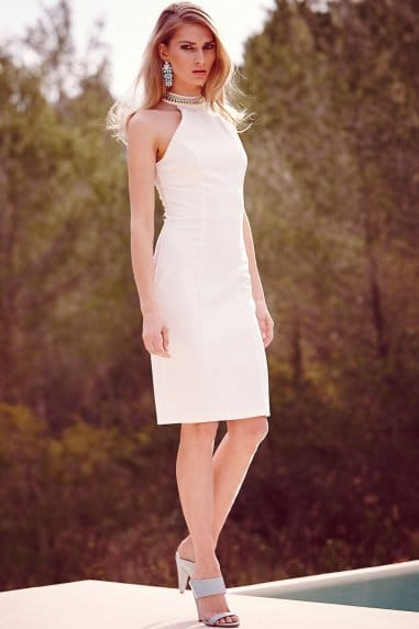 White Embellished Neck Cut Out Dress