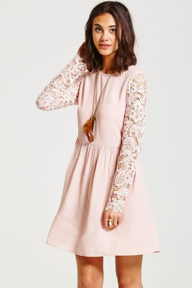 Pink Lace Sleeve Dress