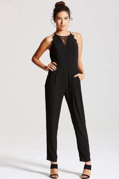 Black Lace Insert Jumpsuit