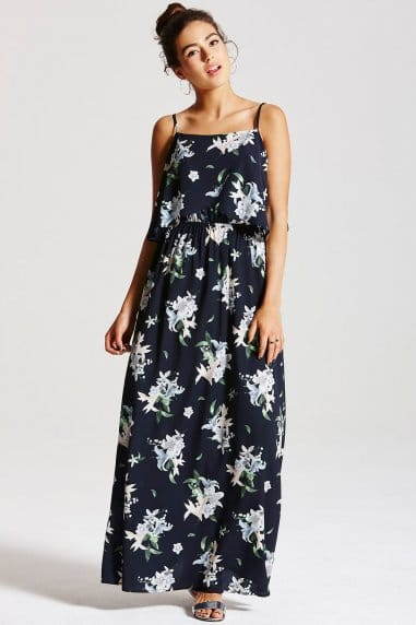 Navy Palm Print Maxi Dress