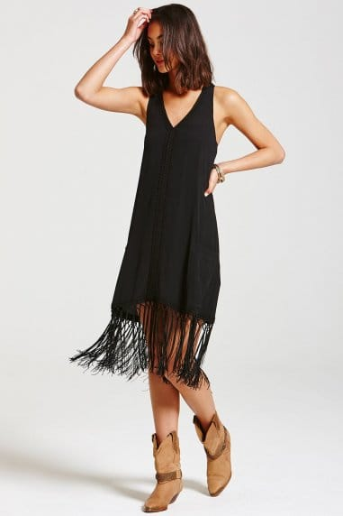 Black Lace Trim Fringed Dress