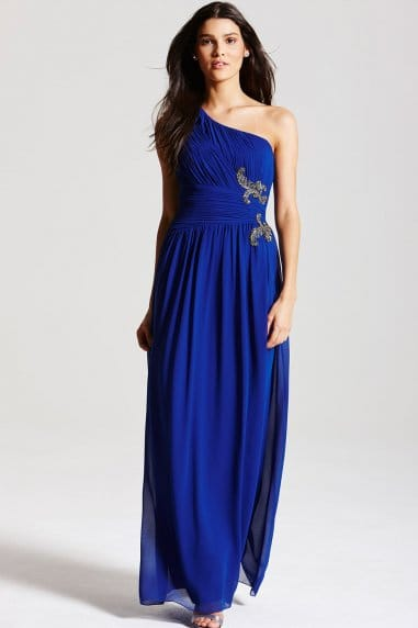 Blue Embelished One Shoulder Maxi