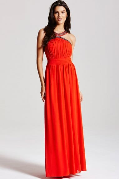 Orange Embellished Chiffon Maxi Dress