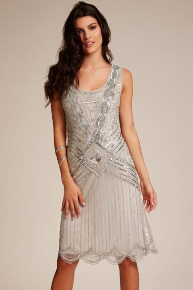 Frock and Frill ice grey highneck embellished dress