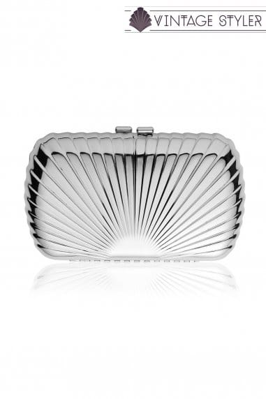 Rae Silver Scalloped Clutch Bag