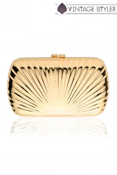 Vintage Styler Rae Gold Scalloped Clutch