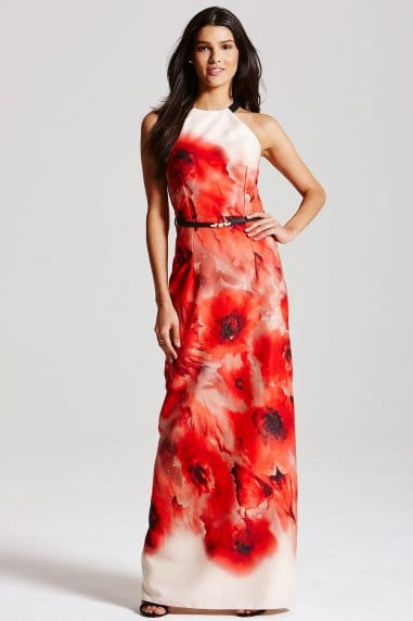 Blurred Poppy Print Maxi Dress