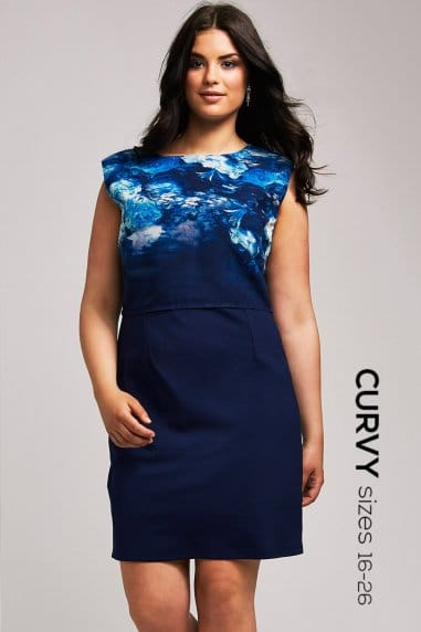 Blue Floral 2 in 1 Bodycon Dress