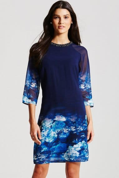 Blue Floral Mesh Sleeve Tunic