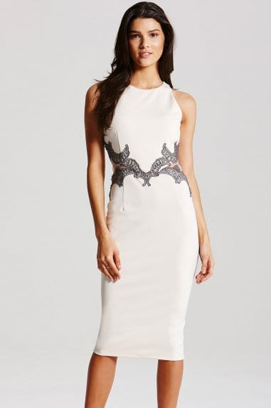 Cream and Metallic Mesh Insert Dress