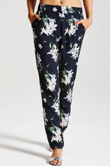 Navy Palm Print Trousers