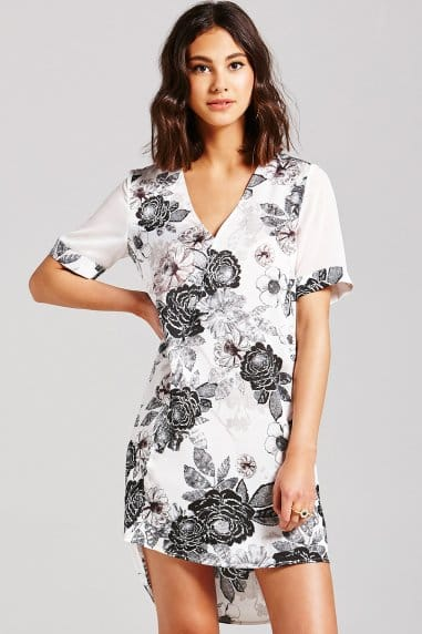 Monochrome Floral Wrap Dress