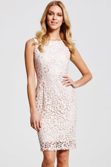 Cream Lace Wiggle Dress