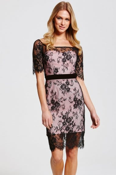 Black and Pink Lace Overlay Dress