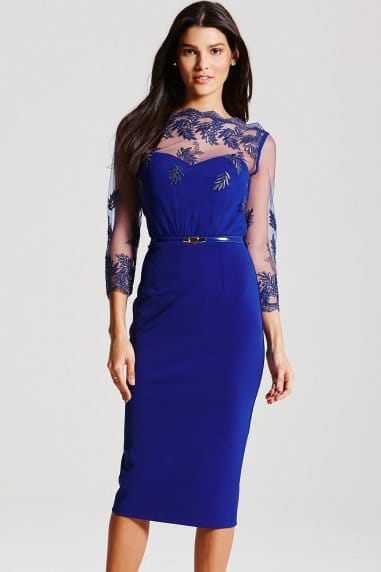 Blue Metallic Mesh Embroidered Dress