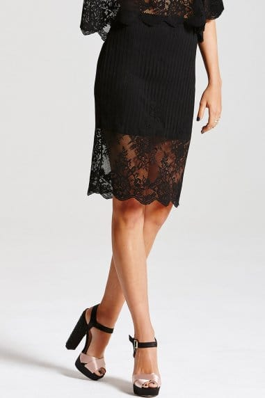Black Layered Lace Skirt