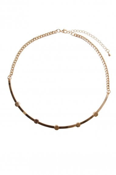 Gold Half Moon Bar Necklace