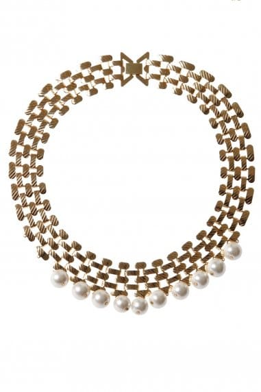 Pearl Drop Gold Statement Necklace
