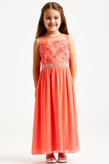 Coral Floral Applique Dress