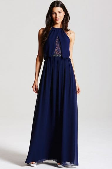 Navy Chiffon Lace Insert Maxi Dress