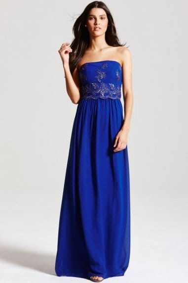 Cobalt Blue Embroidered Maxi Dress