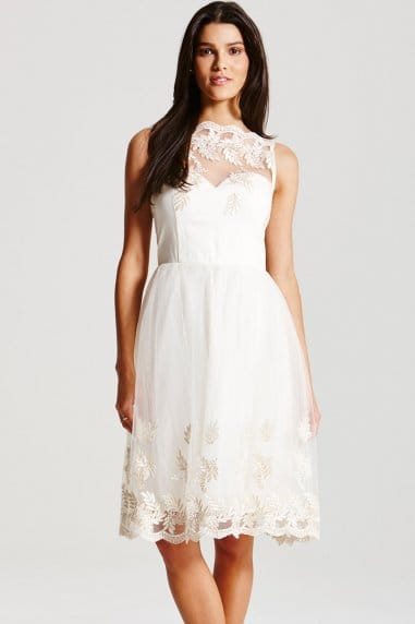 Cream Embroidered Prom Dress