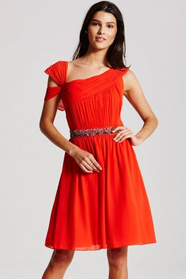 Orange Embellished Chiffon Prom Dress