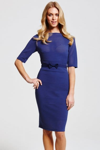Navy Textured Stripe Dress