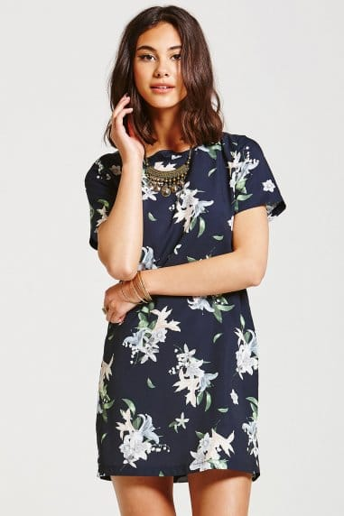 Navy Palm Print Tunic Dress