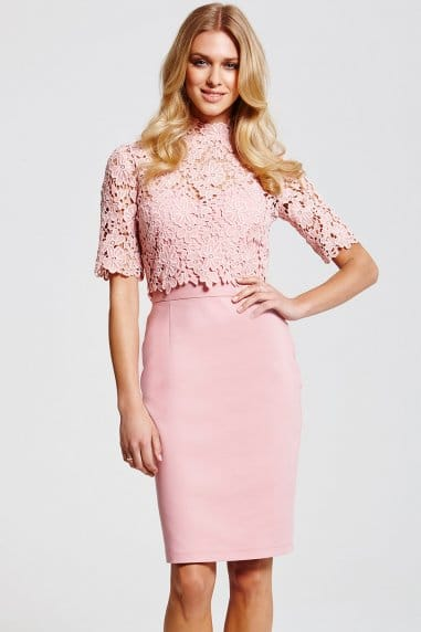 Blush Floral Lace Overlay Dress