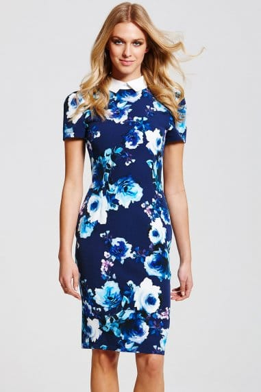 Navy Floral Collar Dress