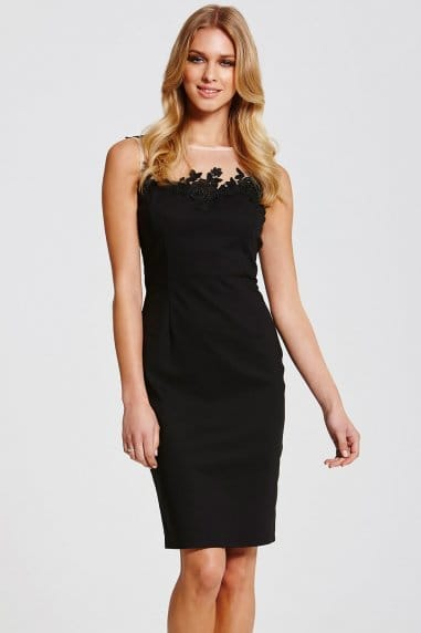 Black Mesh Insert Wiggle Dress