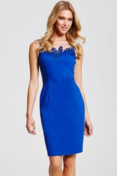 Blue Mesh Insert Wiggle Dress