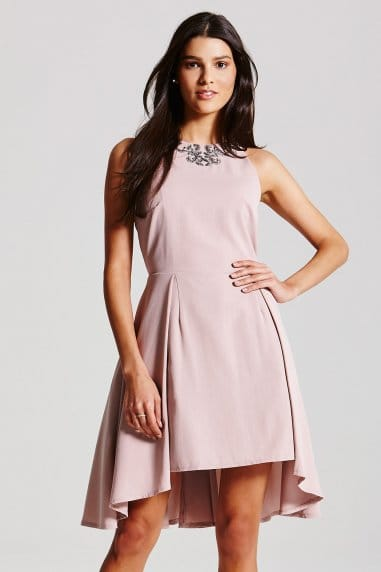 Mink Embellished Neck Dress