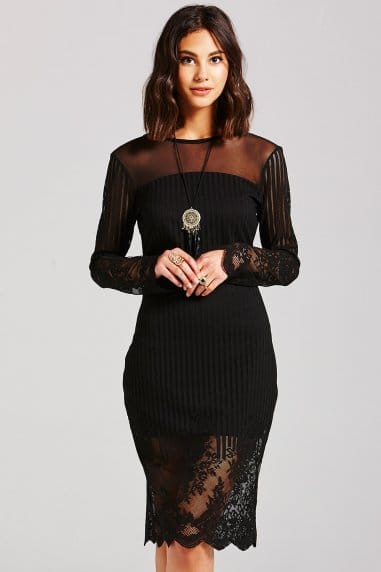 Black Lace 3/4 Sleeve Dress