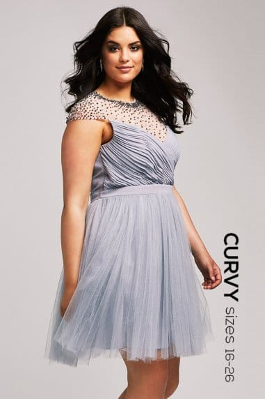 Grey Beaded Prom Dress