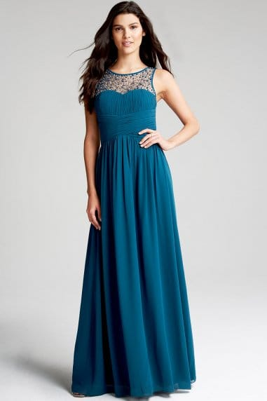 Petrol Blue Embellished Neck Maxi Dress